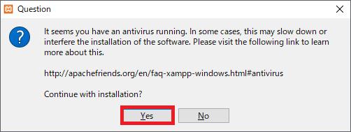 「Yes」をクリックイメージ