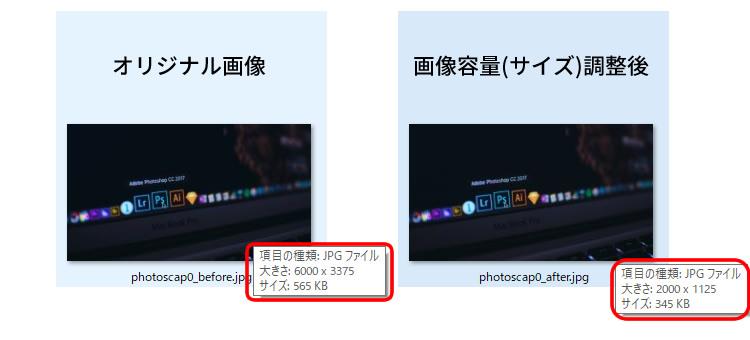 画像容量(サイズ)調整前と後の画像比較イメージ